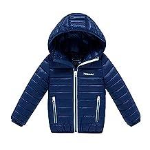 MNBS Girls Kids Boys Winter Hooded Lightwear Outwear Down Jacket Coat Navy 140