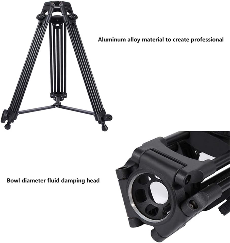 Adjustable Height Color : Black, Size : One Size Zxcvlina-YD Heavy Duty Video Camcorder Aluminum Alloy Tripod for DSLR//SLR Camera 62-140cm Video Tripod System