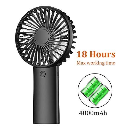 PRAVETTE Mini Portable Handheld Fan, USB 4000mAH Rechargeable Batteries, 8-18 Hours Working Time Personal Fan, 3 Speed Settings for Office Home Outdoor Travel Black