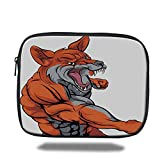Laptop Sleeve Case,Fox,Muscular Fierce Fox Character Fighting Sports Animal Mascot Punching Monster Decorative,Orange