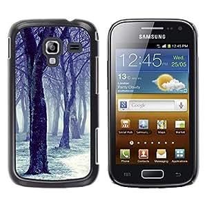 FECELL CITY // Duro Aluminio Pegatina PC Caso decorativo Funda Carcasa de Protección para Samsung Galaxy Ace 2 I8160 Ace II X S7560M // Black Tree Snow White Forest