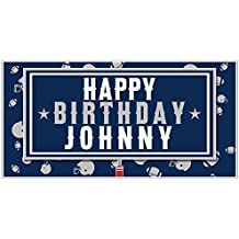 NFL Football Party Blue and White Personalized Birthday Banner Decoration