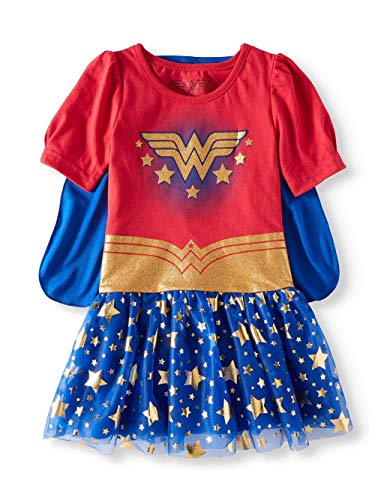 Hybrid Toddler Girls Wonder Woman Tutu Dress with Cape (5T), Red Blue Gold -