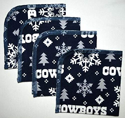 Winter Cowboys Fan Printed Flannel Paperless Towels 1 Ply 10x10 Inches Set of 4 (Cowboy Baby Towel)