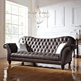 Classic Tufted Real Italian Leather Tufted Victorian Sofa - Real Italian Leather (Dark Brown)
