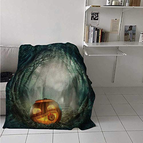 maisi Halloween Digital Printing Blanket Drawing of Scary Halloween Pumpkin Enchanted Forest Mystic Twilight Party Art Summer Quilt Comforter 62x60 Inch Orange Teal