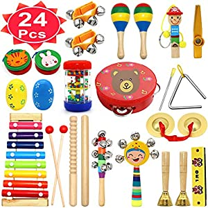 Kids Musical Instruments, PETUOL 24 PCS Valentine's Day Musical Percussion Instrument Set for Toddlers, Xylophone Tambourine for Children Preschool Education, Kids Early Learning Musical Toys Backpack