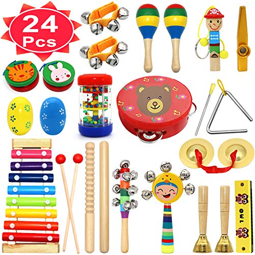 PETUOL Kids Musical Instruments, 24 PCS Musical Percussion Instrument Set for Toddlers, Xylophone Tambourine for Children Preschool Education, Kids Early Learning Musical Toys Backpack