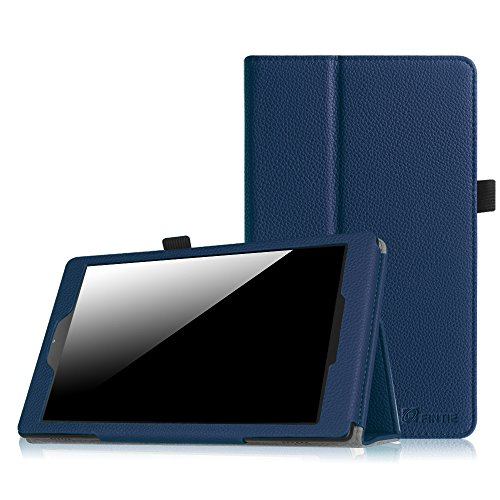 (Fintie EKAB006AD-US Folio Case for Fire HD 8 (2015 Model 5th Gen Only), Slim Fit Premium Vegan Leather Standing Cover with Auto On/Off, Navy)