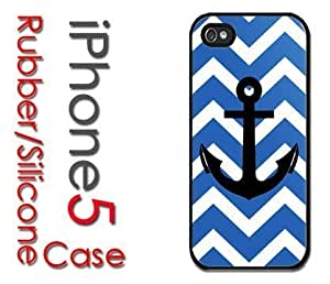 MEIMEIiphone 6 plus 5.5 inch (New Color Model) Rubber Silicone Case - Chevron Pattern with Anchor Navy Blue White BlackMEIMEI