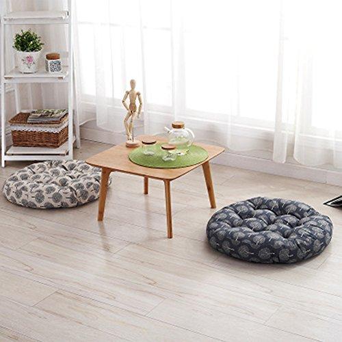 TMJJ Cotton & Linen Round Floor Pillow Cushion Japanese Style Futon Seat Cushion Thicken Chair Wave Window Pad 21'' x 21'',Set of 2 (Dark Happy Tree) by TMJJ Home (Image #6)