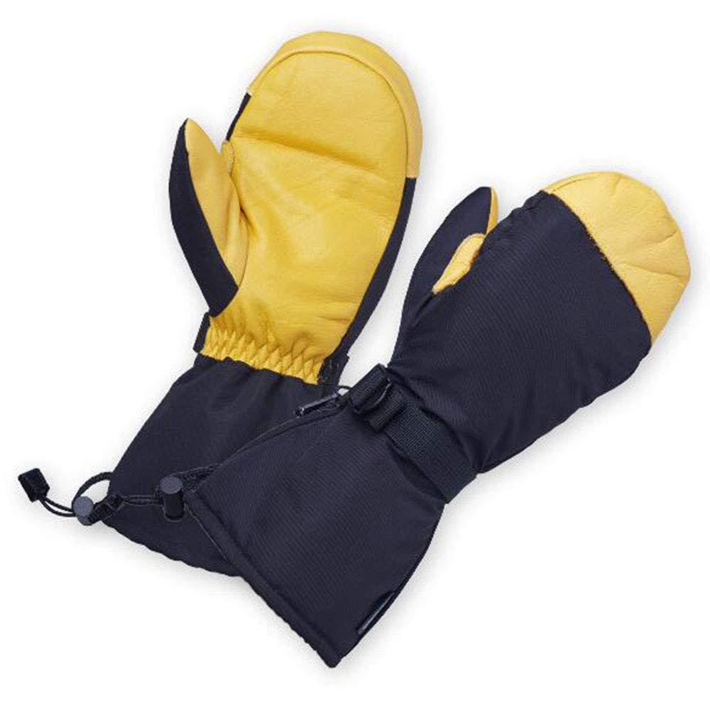 ZYJFP Cowhide Plus SAMT Warme Full-Finger-Handschuhe, Winddichte, Wasserdichte Rutschfeste Outdoor-Sport-Skihandschuhe Für Damen Und Herren Tragbare Handschuhe, Gelbe,M