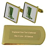 Garden Wellington Boots Gold-tone Cufflinks Money Clip Engraved Gift Set