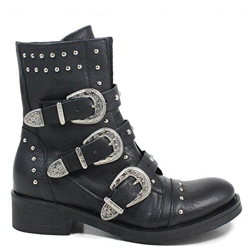0276 Biker Fibbie Personal Made Vera Stivaletti Nero Donna Pelle Borchie Boots In Shoepper Anfibi Italy qYRF8nZR