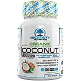 Coconut Oil Organic Extra Virgin 132 Softgel/Capsules/Pills 2000mg Pure Cold Pressed Non GMO - Great Natural Supplement Source - Supports Weight Loss Management Healthy Hair Skin Nails Growth - Boost
