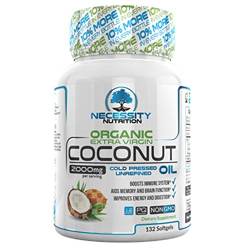 (Coconut Oil Organic Extra Virgin 132 Softgel/Capsules/Pills 2000mg Pure Cold Pressed Non GMO - Great Natural Supplement Source - Supports Weight Loss Management Healthy Hair Skin Nails Growth - Boost)