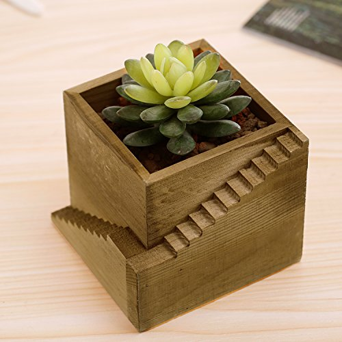 Cheap  Modern Wood Staircase Design Cube Planter Box, Small Succulent Plant Cactus Container..