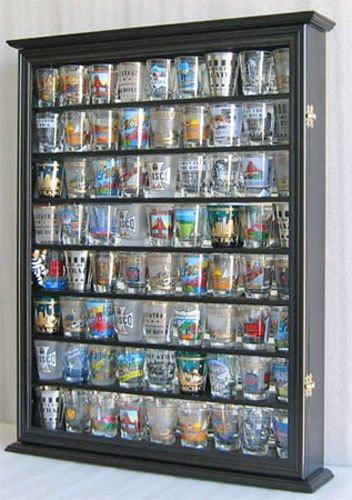 Black Finish Large 72 Shot Glass Display Case Wall Shelf Holder Cabinet Mirror Back