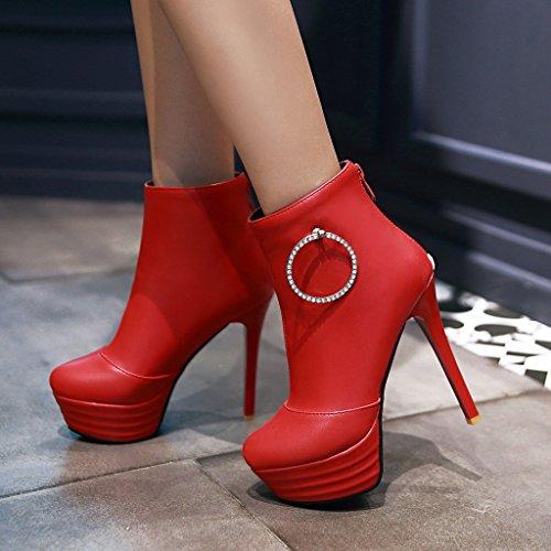 YE Damen High Heels Plateau Stiefeletten mit Glitzer Strass Stiletto 13cm Absatz Reißverschluss Hinten Elegant Party Ankle Boots Rot
