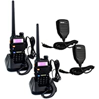 Retevis RT-5R 2 Way Radio 5W 128CH UHF/VHF 136-174/400-520 MHz Dual Band Dual Standby DTMF/CTCSS/DCS FM Transceiver with Earpiece Ham Amateur Radio Walkie Talkie (2 Pack) and Speaker Mic (2 Pack)