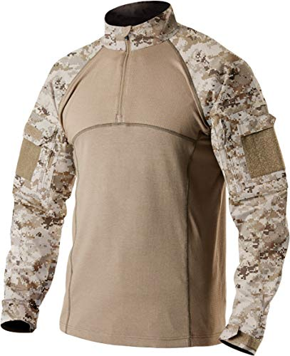 CQR Men's Combat Shirt Tactical 1/4 Zip Assault Long Sleeve Military BDU Shirts Camo EDC Top