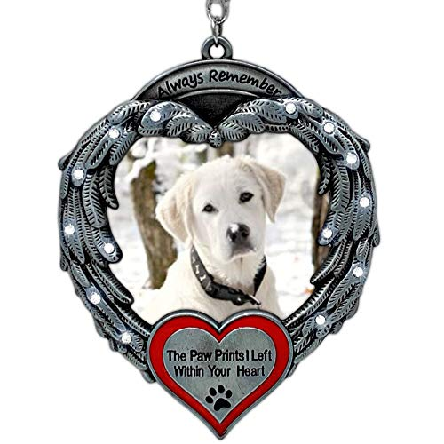 BANBERRY DESIGNS Pet Memorial Photo Ornament - Always Remember The Paw Prints I Left Within Your Heart - Angel Wings Picture Christmas Ornament - Pet Sympathy Gifts - Keepsake Loss of a Pet Ornament