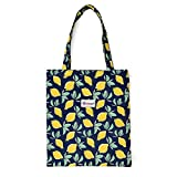 LIFEMATE Floral Tote Bags Waterproof Tote Shoulder Handbag for Girls' Shopping Travel Outdoor (Lemon)