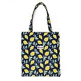 LIFEMATE Floral Tote Bags Waterproof Tote Shoulder Handbag for Girls' Shopping Travel Outdoor (Lemon)