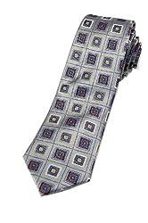 Zarrano Skinny Tie 100% Silk Woven Ivory/Blue Square Tie