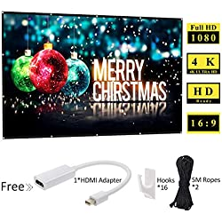 120 inch Rear Projection Screens - Portable Movie Screen Foldable 16:9 HD Anti-Crease Projector Screen for Home Theater Outdoor Indoor, Support Double Sided Projection (HDMI Adapter Included)