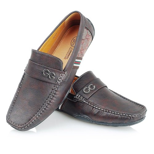 NEW MENS LEATHER LOOK CASUAL DESIGNER INSPIRED LOAFERS MOCCASINS SLIP-ON SHOES 75yGqfM5SC