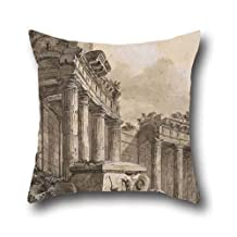 pillow cases of oil painting Charles-Louis Clérisseau - Figures near a Ruined Colonnade 16 x 16 inches / 40 by 40 cm,best fit for kitchen,teens,her,teens boys,play room,bedroom twice sides