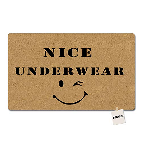 SGBASED Door Mat Funny Doormat Nice Underwear Face Mat Washable Floor Entrance Outdoor & Indoor Rug Doormat Non-Woven Fabric (23.6 X 15.7 inches) - Nice Underwear Door Mat
