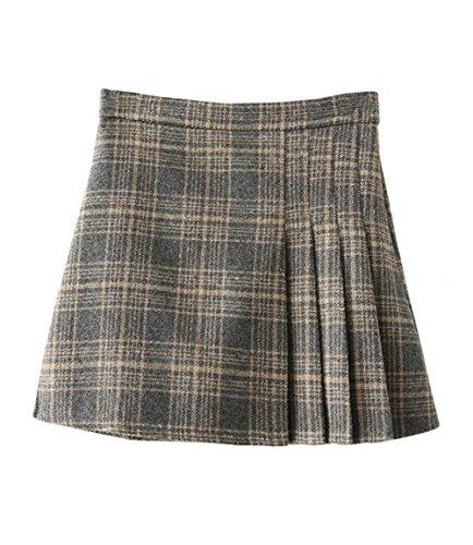 Tweed Mini Dress (Hanayome Girls' Skirt Winter Woolen Casual Plaid Pleated Mini Dresses SC16 (Grey, M))