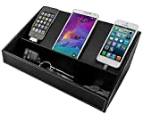 """Multi-Device Charging Station Desktop Valet Organizer for Cell Phones Tablets Accessories – USB Charger Power Strip Not Included 14""""x 7.5""""x 4.5"""" (Black) – Stock Your Home"""