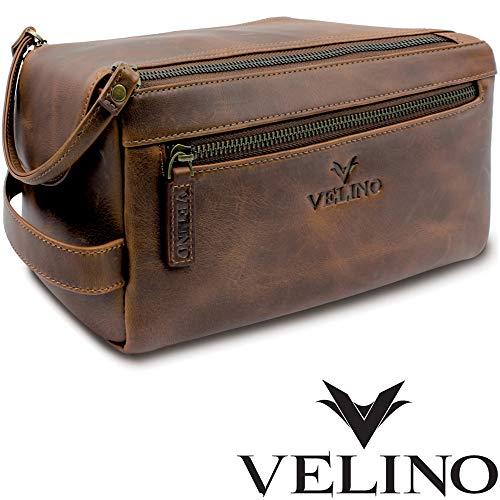 Velino Handmade Genuine Buffalo Leather Unisex Toiletry Bag Travel Dopp Kit Grooming and Shaving Kit ~ Gift for Men Women ~ Hanging Zippered Cosmetic Pouch ~ Bathroom Makeup Case (Leather Toilet Bag)