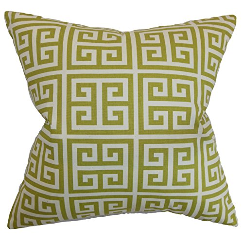 The Pillow Collection P18FLAT-PP-TOWERS-VILLAGEGREEN-NAT Paros Greek Key Throw Pillow Cover, 18