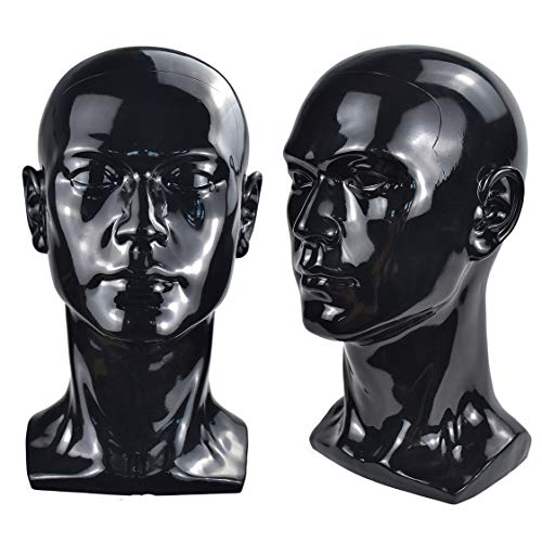 Men Mannequins Head Dummy Realistic Male Wig Mannequin Dummy Head For Hat Sunglass Display Manikin Head (Bright black)
