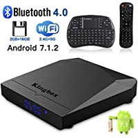 Kingbox Android TV Box, K3 Android 7.1 Box with Amlogic S912 Octa-Core 64 Bits 2GB/16GB Support Dual WiFi 2.4+5GHz/BT 4.0/4K/3D/1000M LAN Android Smart TV Box, Free Mini Keyboard [2018 Latest Version]