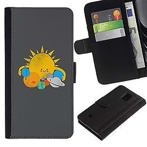 Stuss Case / Funda Carcasa PU de Cuero - Star System Sol Planetas Kids Drawing - Samsung Galaxy S5 Mini, SM-G800