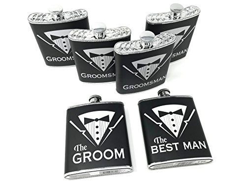 Grooms Gifts - Set of 6 Groom, Best Man, Groomsman Bachelor Party Plastic Tuxedo Flasks