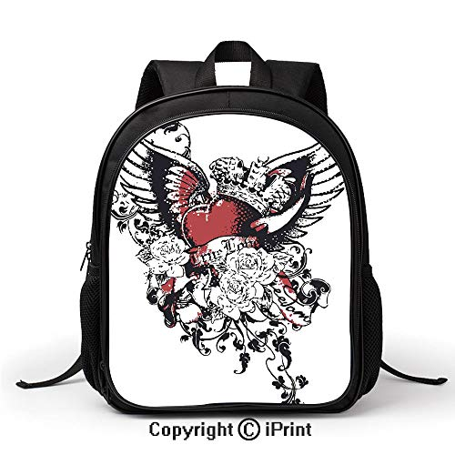 Durable Waterproof School Bag Tattoo Style Heart Crown with Wings Artictic Love Valentines Gothic Romance Graphic Backpack :Suitable for Men and Women,School,Travel,Daily use,etc,Black Red ()