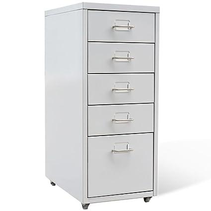 Superior VidaXL 5 Drawer Metal Filing Cabinet Office Storage Organizer 11u0026quot; X  16.1u0026quot; ...