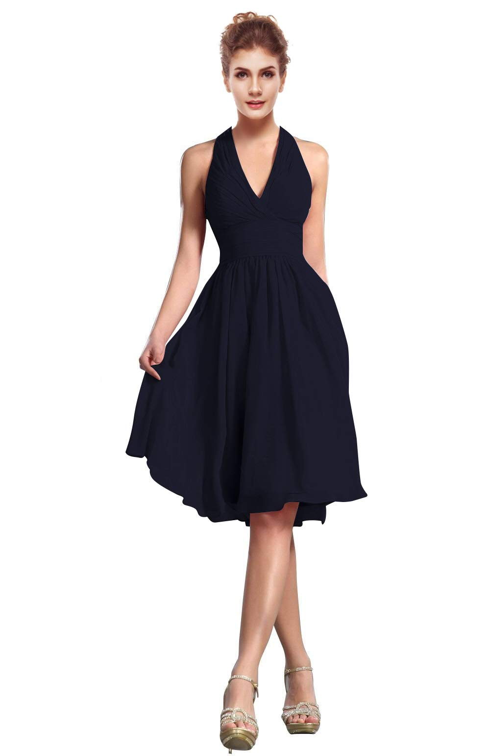 CaliaDress Women Elegant Halter Neck Bridesmaid Dress Formal Prom Gowns Short C200LF Navy Blue US2