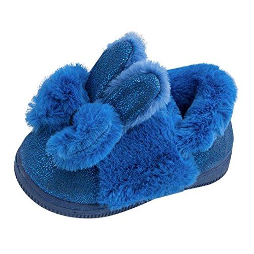 Janly Nette Kleinkind-Bogen-Baby-Plüsch-weiche alleinige rutschfeste warme Samt-Schnee-Schuhe Blau