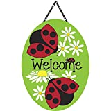 Welcome Lady Bugs Friends and Daisies 18 x 13 Oval Chain Rope Door Banner