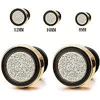 8-12MM Men Women Gold Black Stud Earring Steel Illusion Tunnel Plug with Silver Sand Glitter, 2pcs