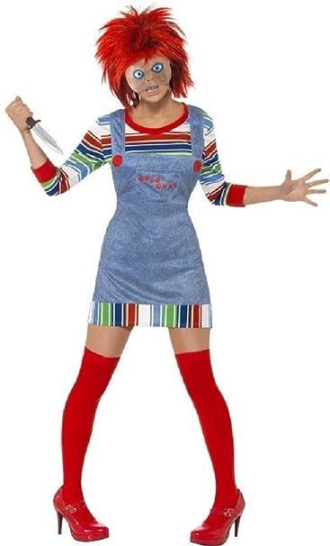 Mujer sexy Chucky plástico muñeca Halloween película Disfraz Outfit peluca 8 – 18