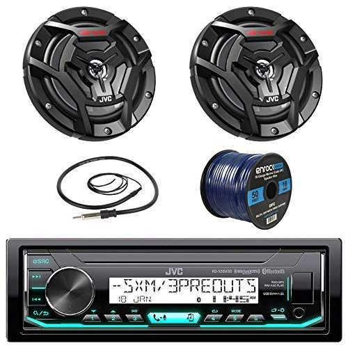 JVC Marine Boat Yacht Radio Stereo Receiver Bundle with Coaxial Speakers, Enrock Radio Antenna and Enrock 16g 50 ft Speaker Wire