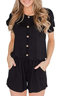 ffa2c7fd12 BOCOTUBE Women s Summer Casual Short Sleeve Striped Front Button Loose Jumpsuit  Rompers with Pockets
